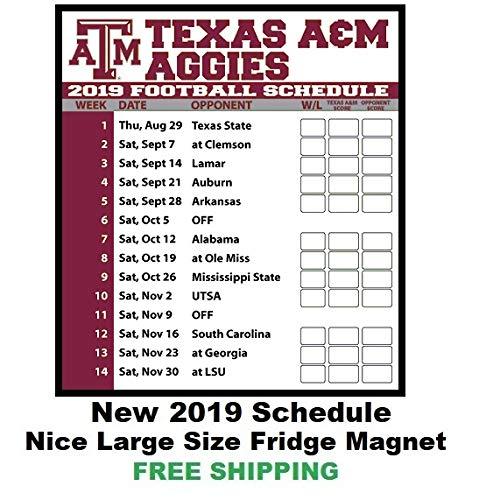 2019 Aggie Football Schedule Amazon.com: 2019 NCAA Texas A&M Aggies Football Schedule Fridge
