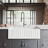 "VIGO VGRA3318CS 33"" x 18"" x 9 5/8 Undermount Farmhouse Kitchen Sink, Composite Solid Surface Single Bowl Apron Front, Matte White Finish"