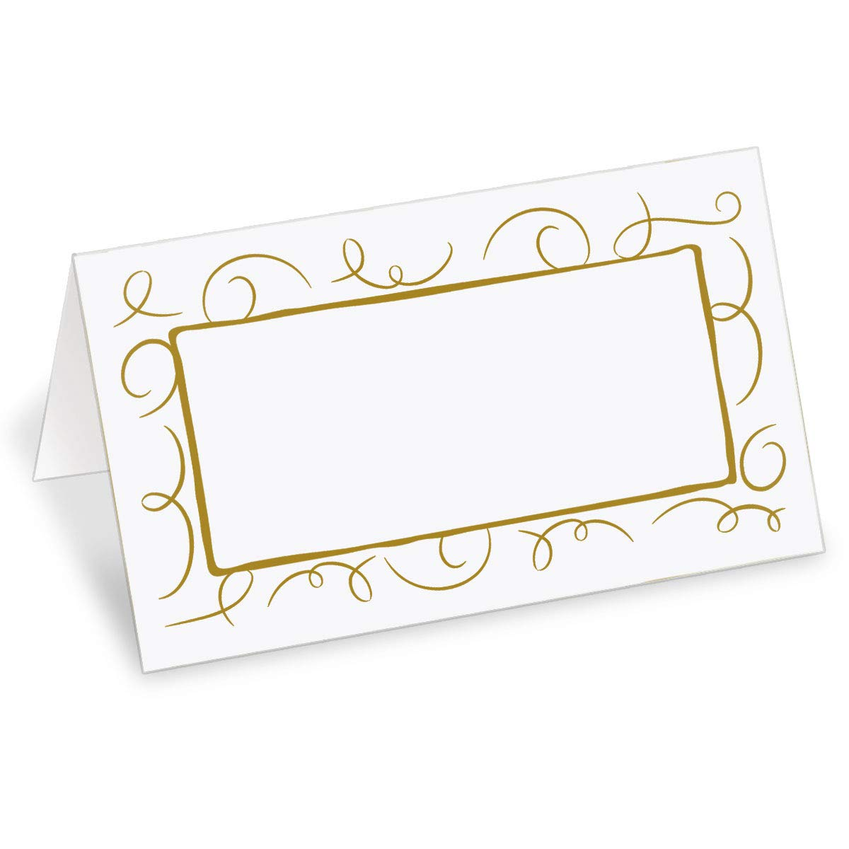 PaperDirect White 38lb Cover Stock Place Cards, Filigree Gold Foil Border, Micro-Perforated, 2'' x 3 1/2'', 200/box, Laser and Inkjet Compatible by PaperDirect
