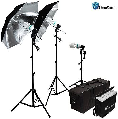 and Carrying Case LimoStudio 600W Photography Triple Photo Umbrella Light Lighting Kit and Portrait StudioLighting Kit With 3 CFL Photo Bulbs Black//Silver Reflective Umbrellas Video AGG912-A