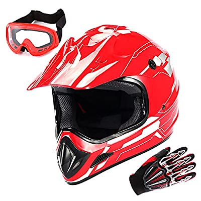 WOW Motocross MX BMX Helmet Racing Red + Goggles + Skeleton Red Glove Bundle