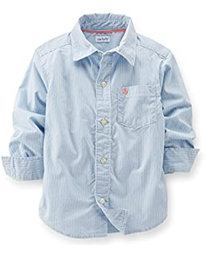 Carter's baby boys blue striped button shirt - 18 Months