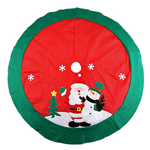 Lovewe Christmas Tree Skirt Ornaments, Red Santa Elk Tartan Base Floor Xmas Home Decor