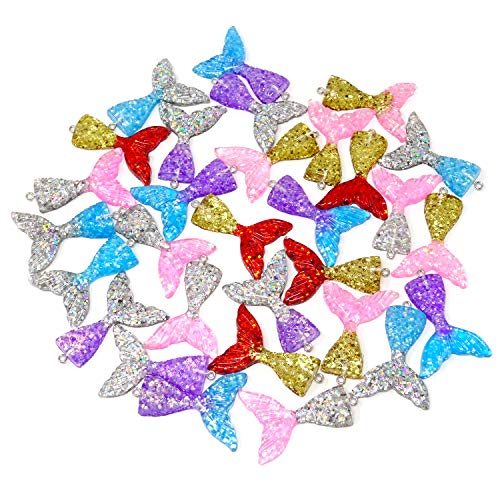 Honbay 30PCS 6 Colors Flatback Resin Glitter Mermaid Tail Pendant Charms for Jewelry Making or DIY Crafts]()