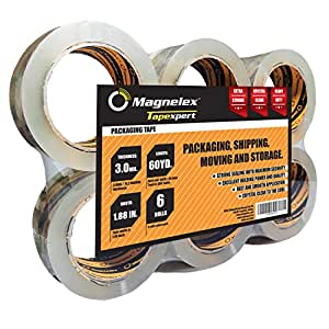 Tapexpert Premium Packing Tape Thicker, Tougher 3.0Mil. Crystal Clear Packaging Tape. 6 Rolls with Longer 60 Yards Each. Not Found in Stores. Resists Splitting, Tearing. Postal Approved