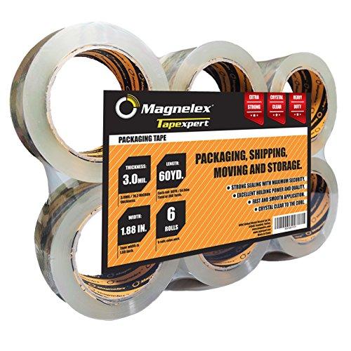 Tapexpert Premium Packing Tape Thicker, Tougher 3.0Mil. Crystal Clear Packaging Tape. 6 Rolls with Longer 60 Yards Each. Not Found in Stores. Resists Splitting, Tearing. Postal - Store Just You For