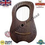 Clan Tartan Lyre Harp 10 Metal String Instruments Shesham Wood/Lyra Harp/Lyre Harfe/Case