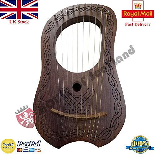 Clan Tartan Lyre Harp 10 Metal String Instruments Shesham Wood/Lyra Harp/Lyre Harfe/Case by Highland Empire/Clan Tartan