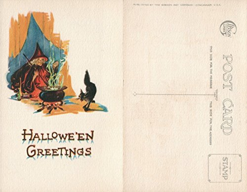 (ANTIQUE HALLOWEEN POSTCARD - BLACK CAT & COOKING WITCH by GIBSON ART)