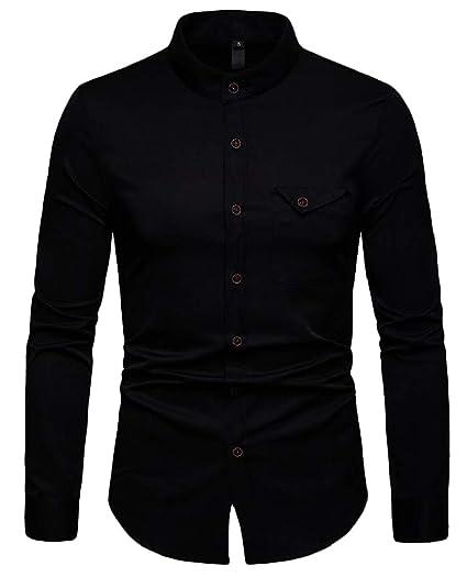 7143daf1806 C H Men Henley Collar Business Casual Long Sleeve Shirts at Amazon ...