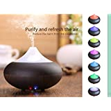 Essential Oil Diffuser, MYBDJ Mini Wood Grain Essential Oil Diffuser Cool Mist Humidifier Air Purifier Electric Ultrasonic Aromatherapy Water Vapourizer aroma Ionizer 7 Changing LED mood Light Dry Protection for Home Office Bedroom Room gift for girlfriend or kid
