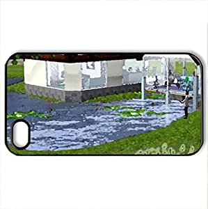 beautiful home - Case Cover for iPhone 4 and 4s (Houses Series, Watercolor style, Black)