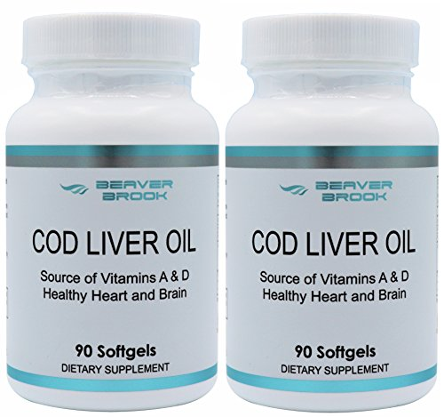 Beaver Brook Cod Liver Oil1,200mg includes Vitamins A, D and Omega 3 (2 pack) For Sale