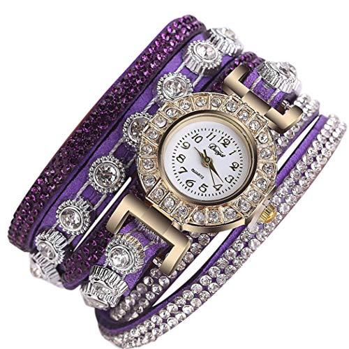 Orcbee  _CCQ Women Fashion Casual Analog Quartz Women Rhinestone Watch Bracelet Watch Gift (Dark Purple)