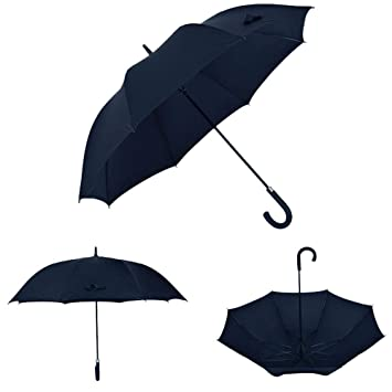 Paraguas Paraguas Largo de Doble Capa con asa Larga. Ganchos Masculinos y Femeninos. Paraguas Grande a Prueba de Viento. (Color : Negro): Amazon.es: ...