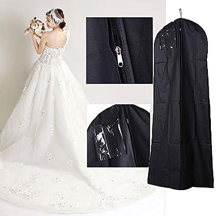 Boda para Vestido Novia Ropa Bolsa Almacenamiento a Prueba Polvo (180 cm, Negro)