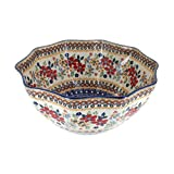 Polish Pottery Red Daisy Small Decagonal Serving Bowl