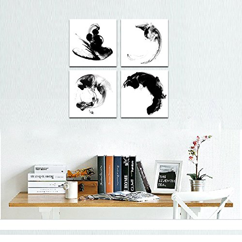 """Sea Charm - Modern Minimalist Wall Art Abstract Black and White Ink Impression Painting Giclee Art with Frame,Home Office Wall Decoration Zen Art (12\""""x12\""""x4pcs)"""