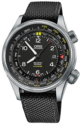 Oris Big Crown ProPilot Altimeter with Meter Scale 46MM Mens Black Face Grey Canvas Strap Date Swiss Automatic Watch - Best Less For 5 Dollars Stocks Than