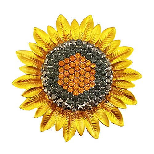 Lanxy Gold Plated Grey Orange Yellow Austrian Crystal Sunflower Brooch Pin for Women