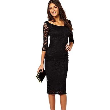 98e4456b48bbb Ketamyy Femme Casual Couleur Pure Col Rond Lace Robes Élégant Coupe Slim  Manches 3 5
