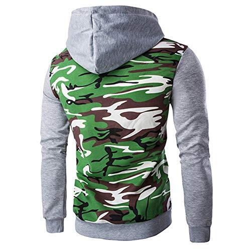 Men Coat Long Tops Gray Sleeve Retro Jacket Outwear UJUNAOR Hooded Sweatshirt Hoodie xFSfgTdw