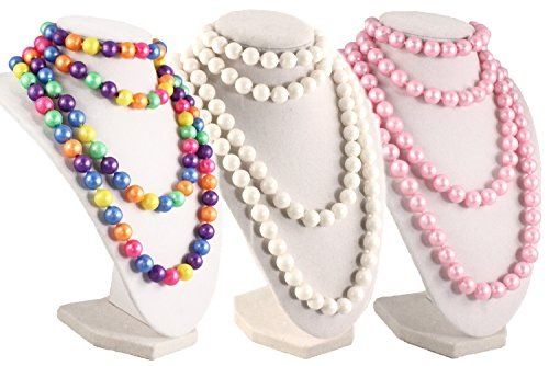 (50s Retro Pop Beads Variety Fun Pack - 1 Bag Each Rainbow, Pink, White Beads)