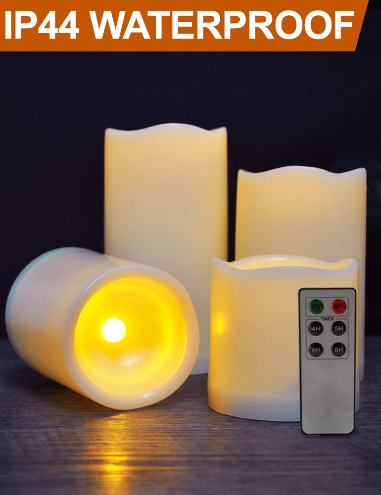 "HOME MOST Set of 4 WATERPROOF Outdoor LED Pillar Candles with Remote (IVORY, 3""/4""/5""/6"" Tall, Wavy Edge) - LED Candles Flickering Outdoor Decorative Candles Set - Candle Decor Fake Candles with Timer"