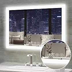Gesipor Led Bathroom Mirror Lighted Backlit Wall Mounted Mirror with Defogger+Clock&Temp+Memory Touch Switch Dimmer Color&Brightness+IP44 Waterproof+CRI>90 High Lumen+Horizontal(36x28inch)