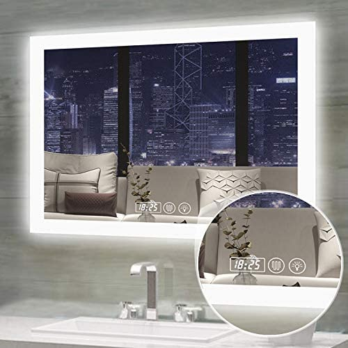 Gesipor 32x24inch LED Bathroom Mirror Lighted Wall Vanity Mounted Smart Bathroom Mirror Anti-Fog Touch Screen Memory Temp Celsius Switch Dimmer Color Brightness IP44 Waterproof CRI 90 Horizontal
