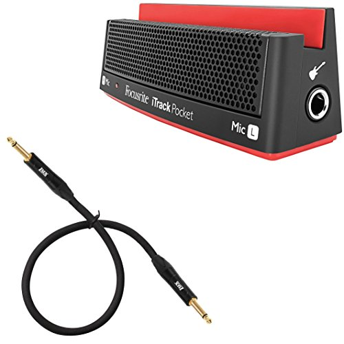 Focusrite iTrack Pocket Portable Stereo Microphone and Guitar Input for iPhone Video Creation and Sharing w/ LyxPro 3 feet  Guitar Instrument TS Cable