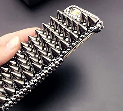 Punassi iphone 6plus/6s plus case,3D Handmade Shiny Crystal Bling Case with Special Pyramid Studs Spikes Rivets Punk Style Design Hard Black PC Cover (iphone 6plus/6s (Rubber Spike Phone Case)