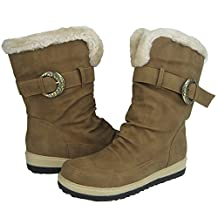 Comfy Moda Women's Winter Boots Coco in Black & Tan Full Fur Lining good for NARROW FEET