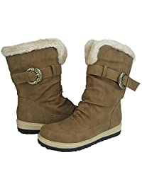 Comfy Moda Women's Winter Boots Coco in Black & Tan Size 6-12