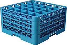 Carlisle RG25-414 OptiClean 25 Compartment Glass Rack with 4 Extenders, 3-1/2\