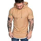 Men's Hoodies, Litetao Spring Summer False Two Tops Short-Sleeved T-Shirt Solid Hooded Blouse (XXXL, Khaki)