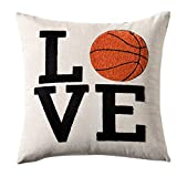 Embroidery Love Sports Series Basketball Decorative Throw Pillow Cover Metallic Silver Linen Cushion Cover Boys Girls NBA Gifts Square 18x18 inch