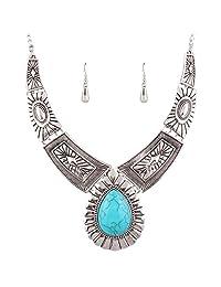Retro Women Teardrop Turquoise Chunky Choker Statement Necklace Bib Earrings Set
