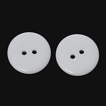 25mm Resin Button 1 Inch White Buttons Two Holes for Sewing and Craft Pack of 100pcs