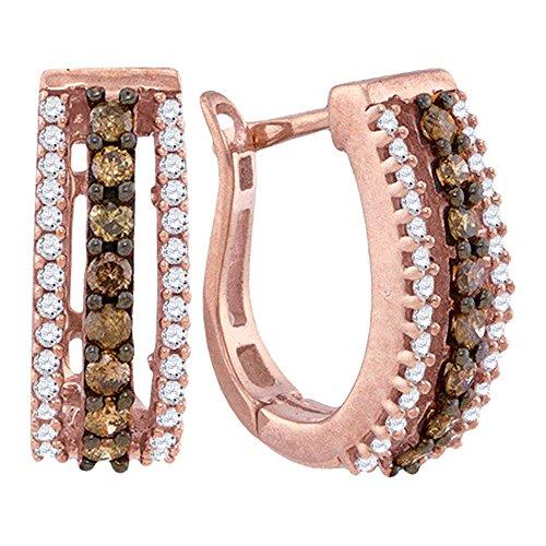 10K Rose Gold U Shape Hoop Huggie Channel Set Chocolate Brown White Diamond Earrings Approx. 1 2 .48 cttw.