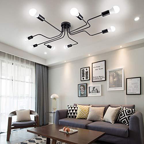 Vintage Deckenlampen - FRIDEKO HOME 8 flammig Industrielle Pendelleuchte Kronleuchter E27 Lampenfassung für Wohnzimmer Esszimmer Bar Cafeteria
