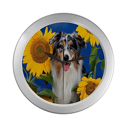 Border Collie  Unique Silver Elegant Wall Clock Decorative Living Room