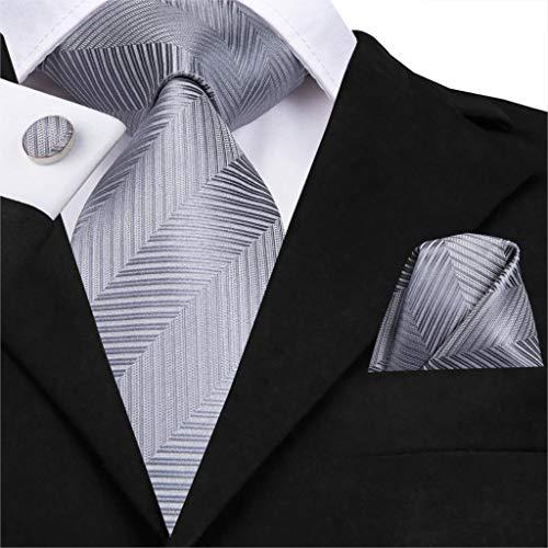 - Grey Silk Jacquard Woven Men Necktie Hanky Cufflinks for Wedding