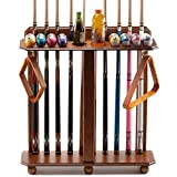 GSE Games & Sports Expert Floor Stand Billiard Pool Cue Racks. Holds 10 Pool Cues and Full Set of Pool Balls (Oak)