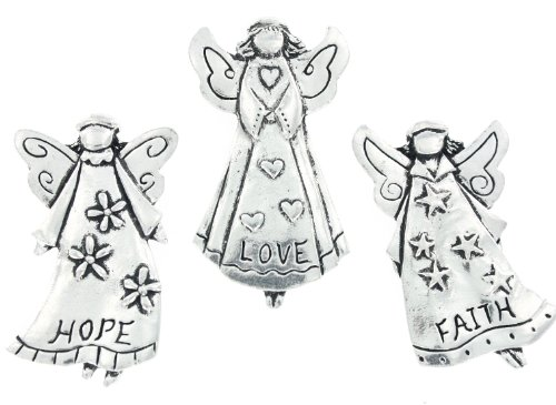Faith Love Hope Angels Set of 3 Pewter Magnets w/ Gift Box by Basic Spirit