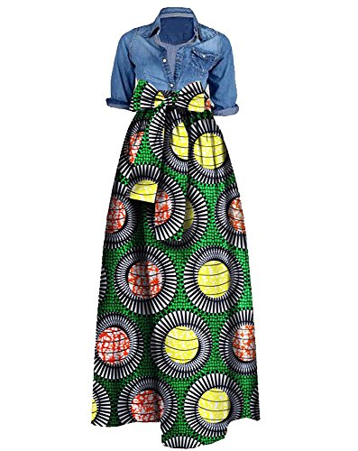 Huiyuzhi Womens African Print Dashiki Dress Long Maxi A Line Skirt Ball Gown,Green,4X
