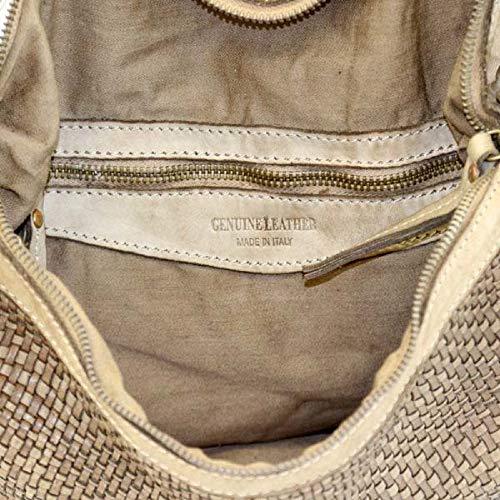 BZNA Bag Emilia beige Italy Designer dam handväska axelväska väska läder Shopper ny