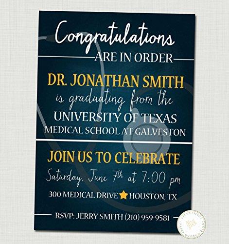 Contemporary Announcements Graduation (Medical School Graduation Invitation Graduation Announcement Set of 10)