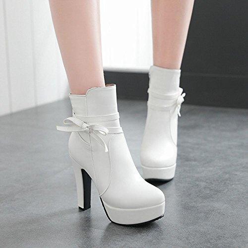Charm Boots High Elegant Bow Dress Heel Platform Women's White Carolbar Zip 6xqEwpn