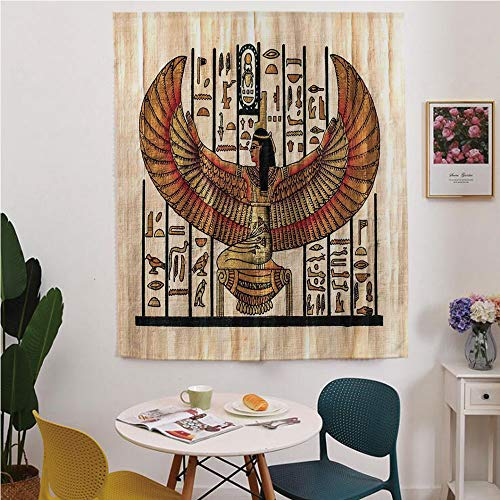 Egyptian Blackout Window Curtain,Free Punching Magic Stickers Curtain,Ancient Religion Historical Art Egyptian Parchment Texture Background,for Living Room,Study, Kitchen, Dormitory, Hotel,Ivory Gold